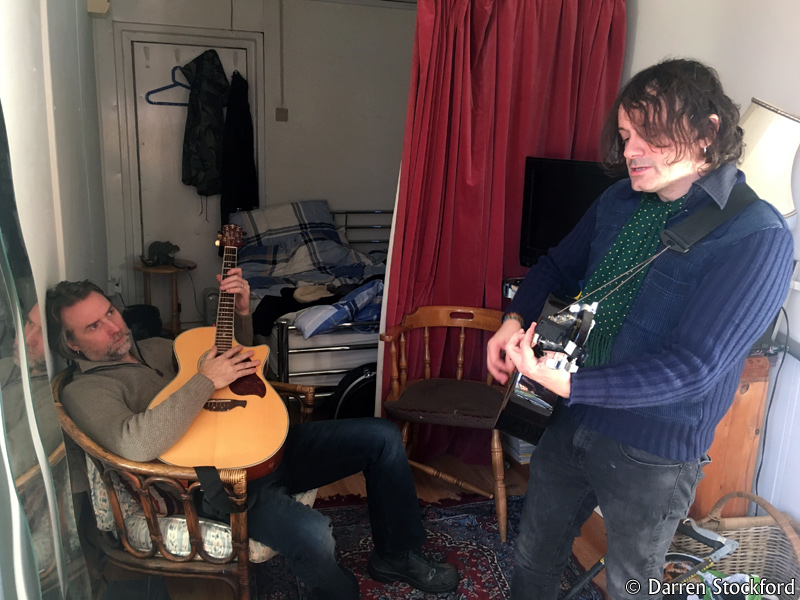 Marc and Slyder of Last Great Dreamers in the living quarters at Henwood Studios, 12 December 2017